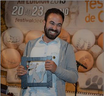 """Foto. Noel R. Queipo Álvaro Gago, Premio do xurado á mellor curtametraxe por """"Curricán"""""""