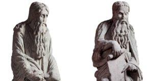As pezas de Abraham e Isaac do Mestre Mateo pertenecen a Santiago de Compostela