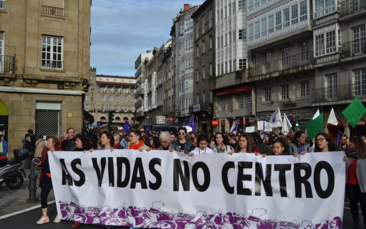 Reivindicación feminista no día do traballo en Santiago de Compostela